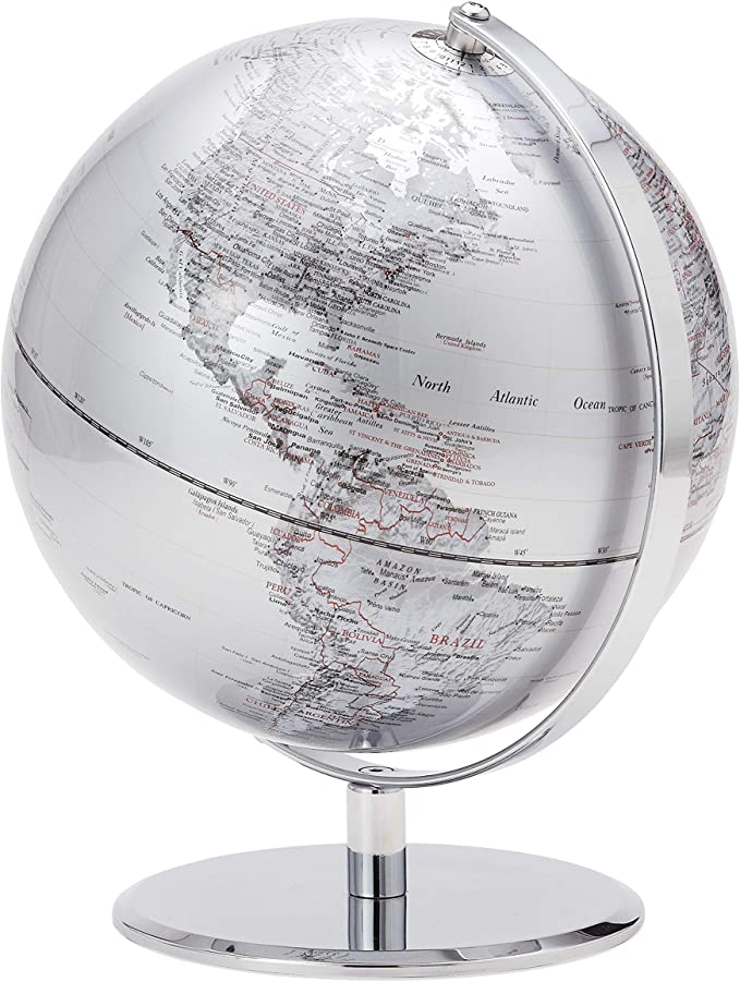 Torre /& Tagus Latitude Standing Floor Globe Silver