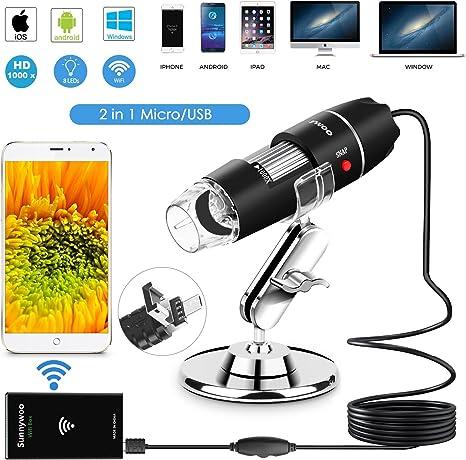 Microscopio USB WiFi 1000x Microscopio Digital de Mano Endoscopio ...