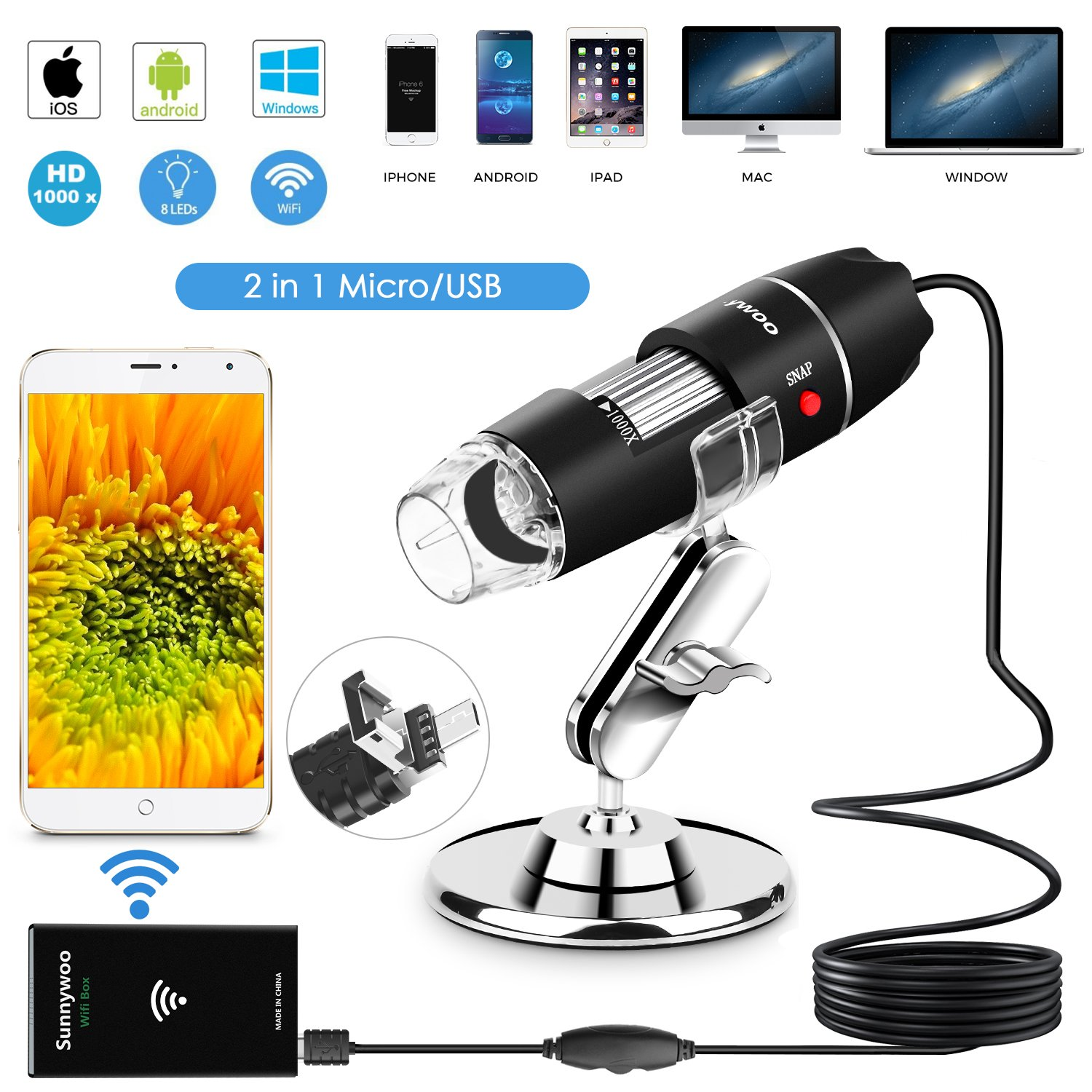Wifi USB Microscope 1000x Digital Handheld Microscope Wifi Endoscope 8 LED with 2 in 1 Micro USB Support for Android Smartphone, iPhone, Tablet, Widows by Sunnywoo by Sunnywoo
