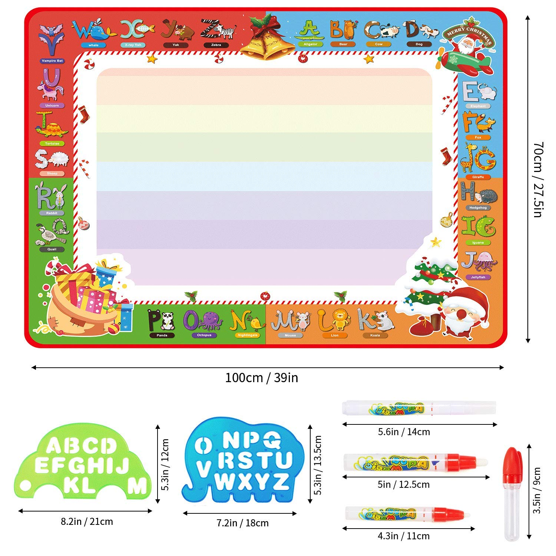 PHYLES Wasser Zeichnen Matte, Super Deluxe 100 * 70 cm Aqua Drawing Painting Mat , kein Chaos Färben & Zeichnen Spiel, Lernspielzeug & Magic Doodle Malmatte für Kleinkinder ab 3 Jahren (groß)