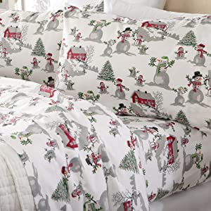 Home Fashion Designs Flannel Sheets Full Winter Bed Sheets Flannel Sheet Set Winter Wonderland Flannel Sheets 100% Turkish Cotton Flannel Sheet Set. Stratton Collection (Full, Winter Wonderland)
