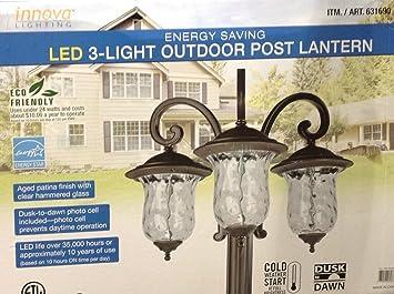Amazoncom Innova Lighting 3 Light Outdoor LED Lamp Post Lantern