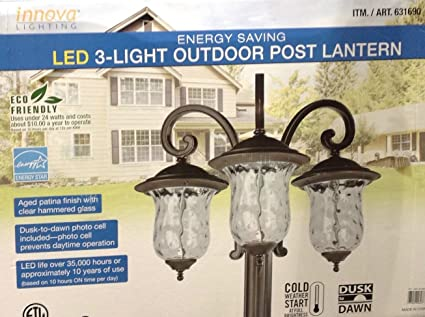 Amazon innova lighting 3 light outdoor led lamp post lantern innova lighting 3 light outdoor led lamp post lantern yard garden landscape aloadofball Image collections