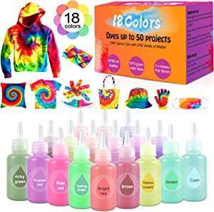 Tie Dye Kit, Tie Dye Powder for Kids and Adults, Tie Dye Kit for Girls, 18 Colors Permanent All-in-1 DIY Tie Dye Set, for Craft Arts Fabric Textile Party DIY Handmade Project