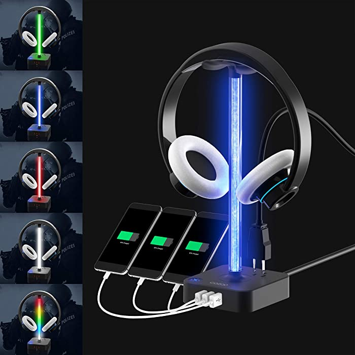 RGB Headphone Stand with USB Charger COZOO Desktop Gaming Headset Holder Hanger with 3 USB Charger and 2 Outlets - Suitable for Gaming, DJ, Wireless Earphone Display (Black)