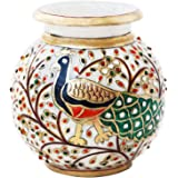 Handicrafts Paradise Peacock Motif Kundan Studded Marble Flower Pot (12.75 cm x 12.75 cm x 12.75 cm), Multicolor