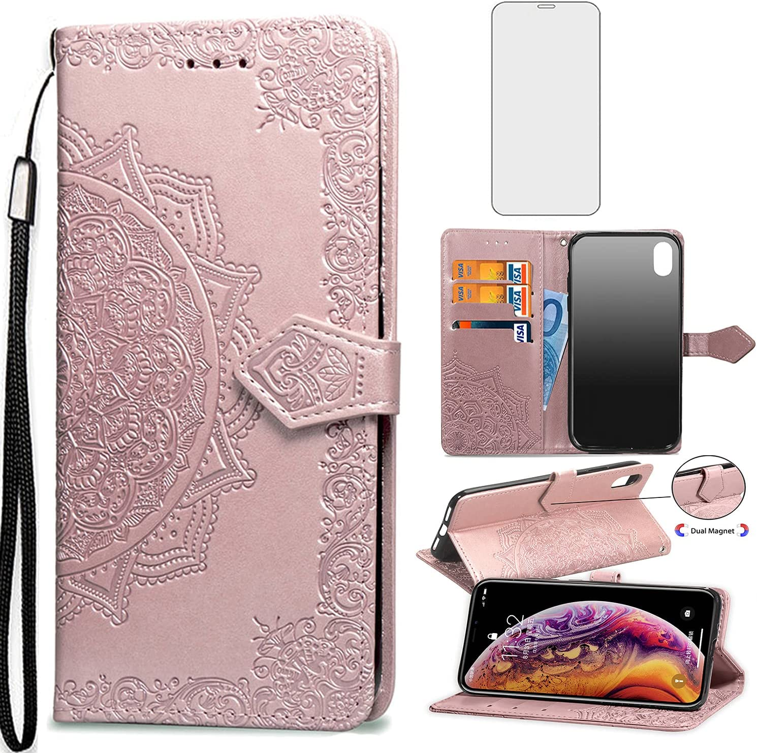 Asuwish Compatible with iPhone XR Wallet Case Tempered Glass Screen Protector Flip Cover Card Holder Cell Phone Cases for iPhoneXR iPhone10R i Phonex 10XR 10R 10 R RX CR iPhoneXRcases Women Rosegold