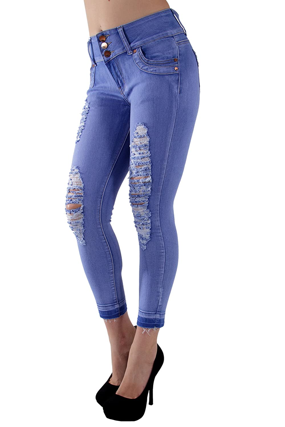 Fashion2Love 8Y055(S) - Butt Lift, Ripped, Distressed, Unfinished Hem, Ankle Jeans