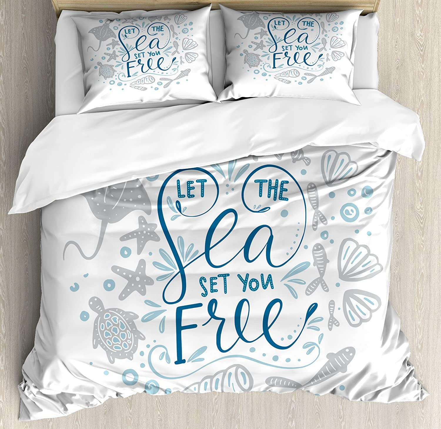Ambesonne Nautical Duvet Cover Set, Let The Sea Set You Free Words with Shellfish Turtle and Stingray, Decorative 3 Piece Bedding Set with 2 Pillow Shams, Queen Size, Blue Navy