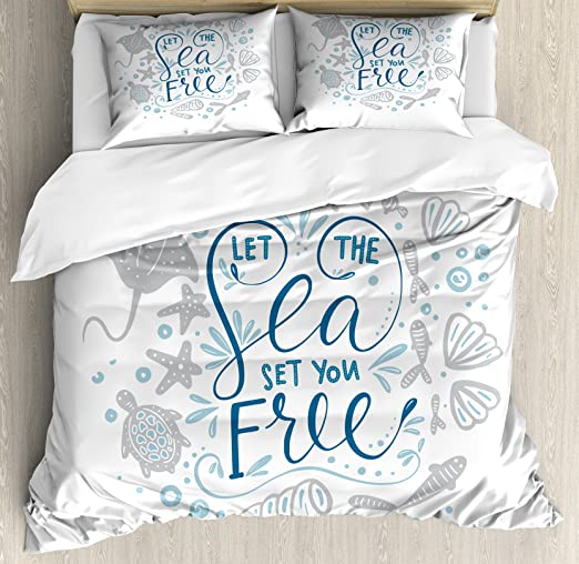 Decorative 4 Pieces Bedding Set with,Quilt Cover,2 Pillow Cases Sea Objects on Wooden Backdrop with Vintage Boat Starfish Shell Fishing Net Photo Nautical Duvet Cover Set Full Size Blue White