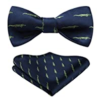 HISDERN Men's Crocodile Pattern Self Bow Tie And Pocket Square Set Wedding Party Accessories