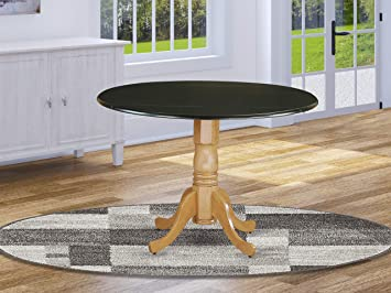 Excellent East West Furniture Dublin Round Table With Two 9 Drop Leaves In Black Oak Finish Andrewgaddart Wooden Chair Designs For Living Room Andrewgaddartcom