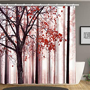 Tree Shower Curtain, a Lonely Tree with Red Leaves on an Abstract Woodland Forest Background, Cloth Fabric Bathroom Decor Set with Hooks,72 x 72 Inch, Pink Red