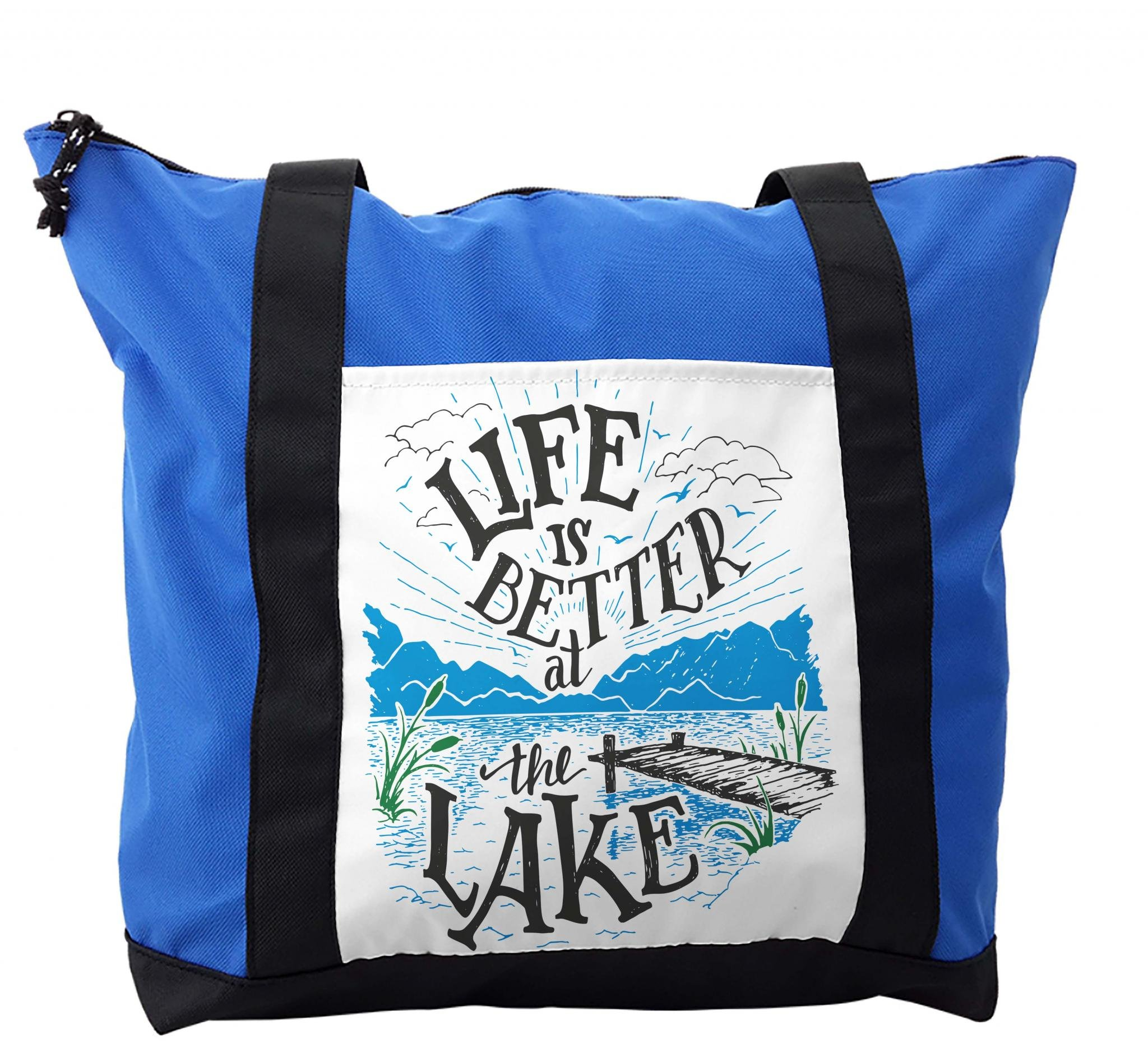 Lunarable Cabin Shoulder Bag, Life is Better at the Lake, Durable with Zipper by Lunarable