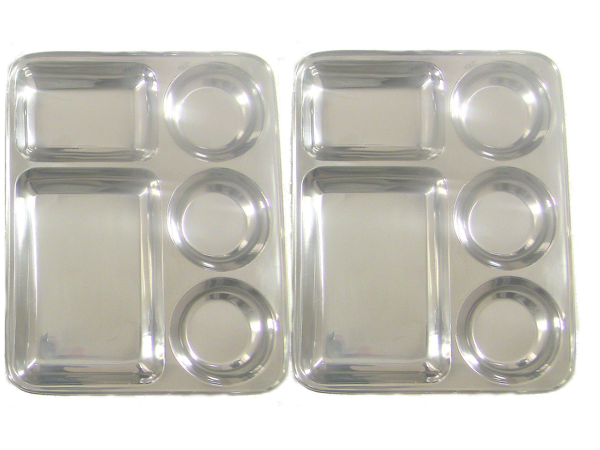 Qualways Rectangular Tray- Divided Stainless Steel Tray Set of 2, Stainless Steel Camping Plates, Stainless Steel Dinner plates