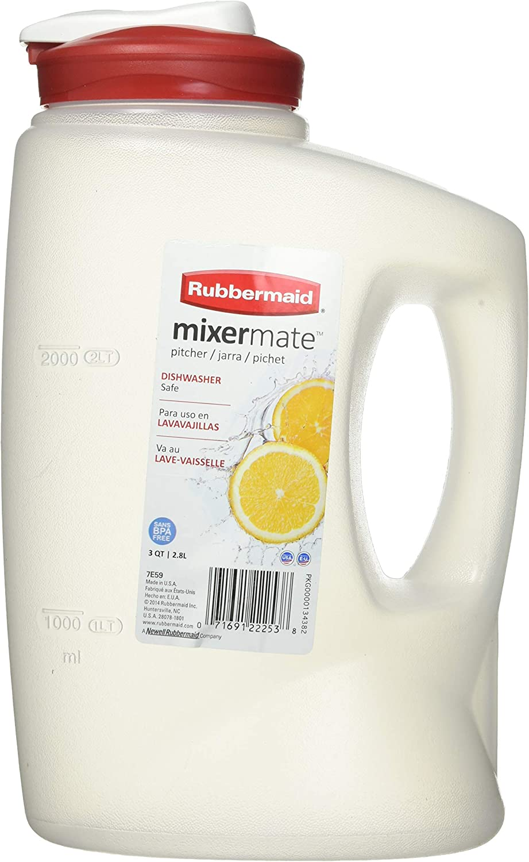 Rubbermaid 071691222552 3-Qt. MixerMate Seal N' Saver Pitcher/Bottle, Red, 3-Quart