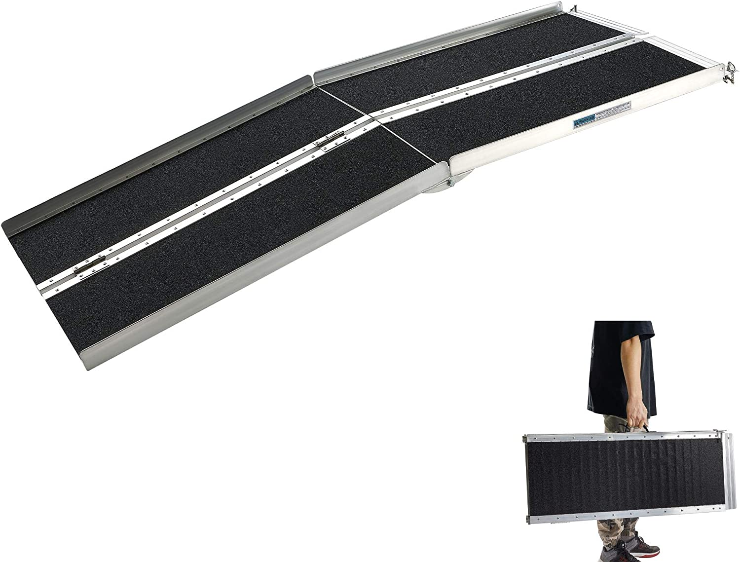 Wheelchair Ramps for Steps, gardhom 6FT Extra Wide 31.3' Folding Portable Traction Antiskid Aluminum Loading Ramp for Scooters Car Doorways