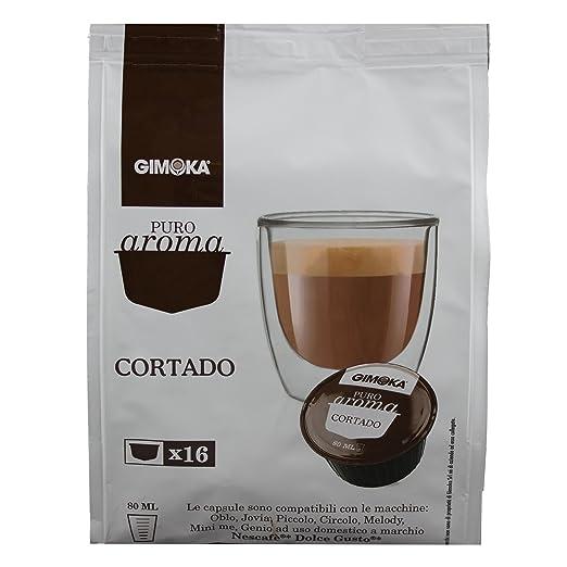 Puro sabor Gimoka Cortado, leche en polvo con café soluble, máquinas de café, Nescafé Dolce Gusto con, de colour marrón, de cápsulas de 160: Amazon.es: ...