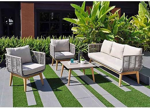 OUTLIV. Muebles Madera Beni Carlo sofá Grupo 4tlg eucalipto/Rope Lounge Grupo Modern Jardín Lounge resistente a la intemperie: Amazon.es: Jardín