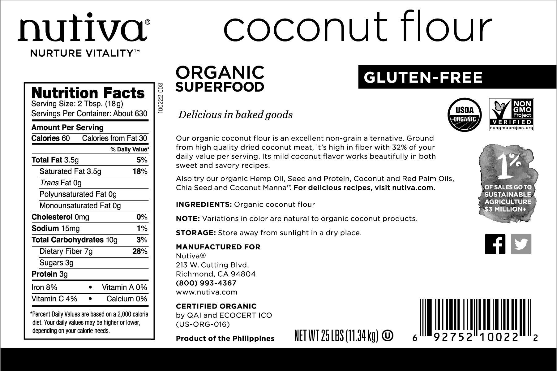 Nutiva USDA Certified Organic, non-GMO, Gluten-free, Unrefined Coconut Flour, 25-pound