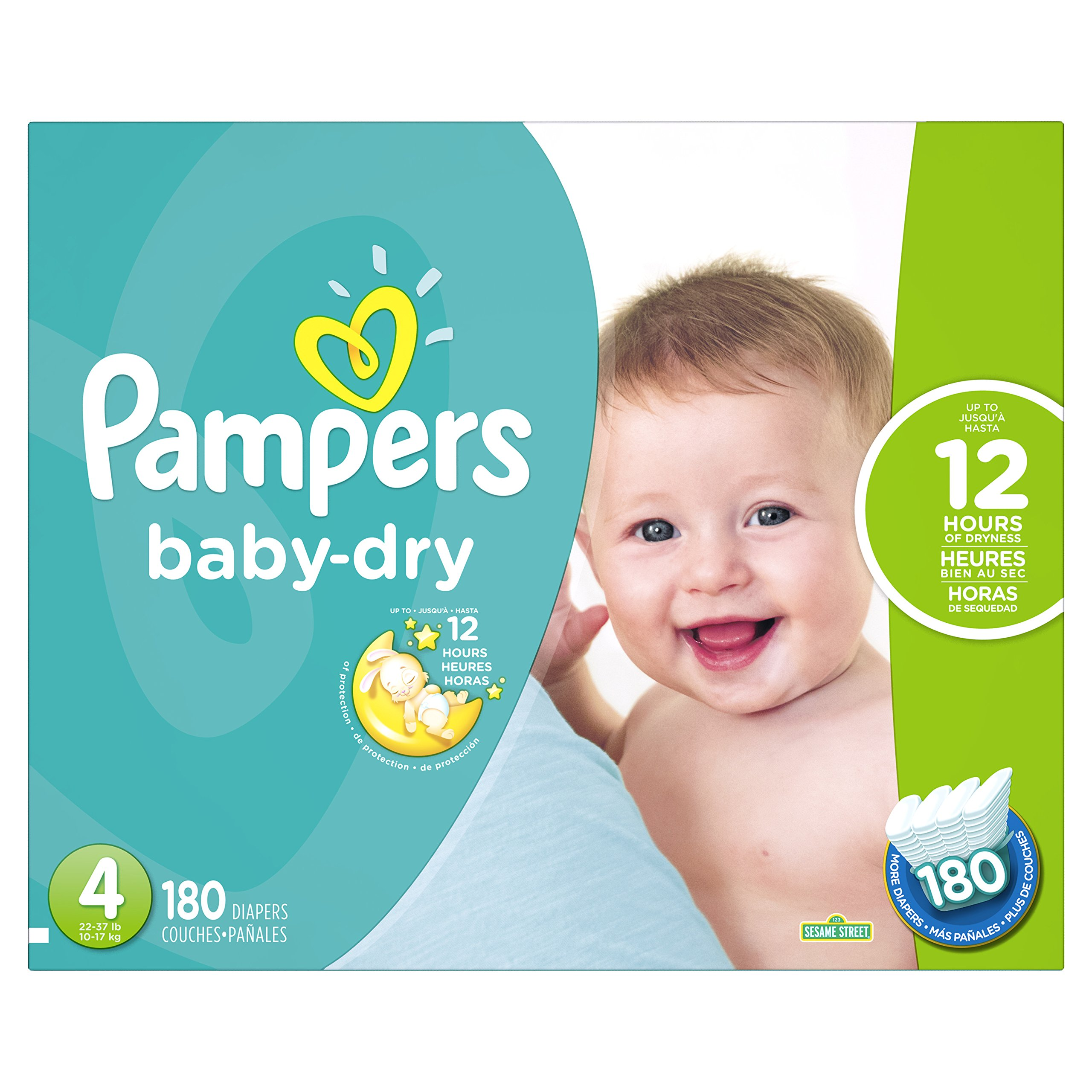 Pampers Baby Dry Diapers Size 4, 180 Count (Packaging May Vary)