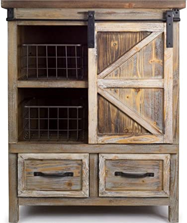 Amazoncom 395 Country Rustic Wooden Storage Cabinet With Metal