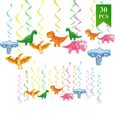 30 Ct Dinosaur Hanging Decorations - Dinosaur Themed Party Supplies Birthday Party Ornaments Baby Shower Decoration: Toys & Games