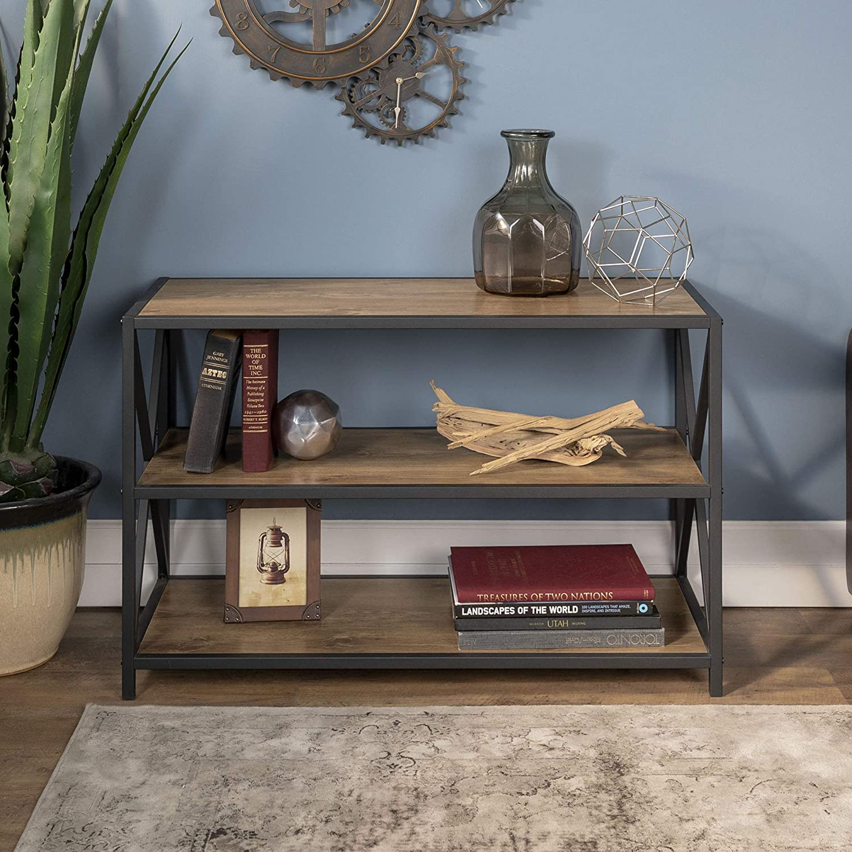 WE Furniture 2 Shelf Industrial Wood Bookcase Bookshelf Storage, 40 Inch, Barnwood Black Metal
