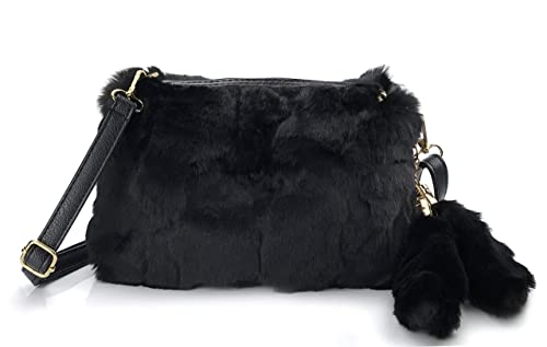 78dc0c80a146 Hoxis Faux Fur Furry Crossbody Shoulder Handbag Clutch Purse with Pom Tail  Keychian (Black)