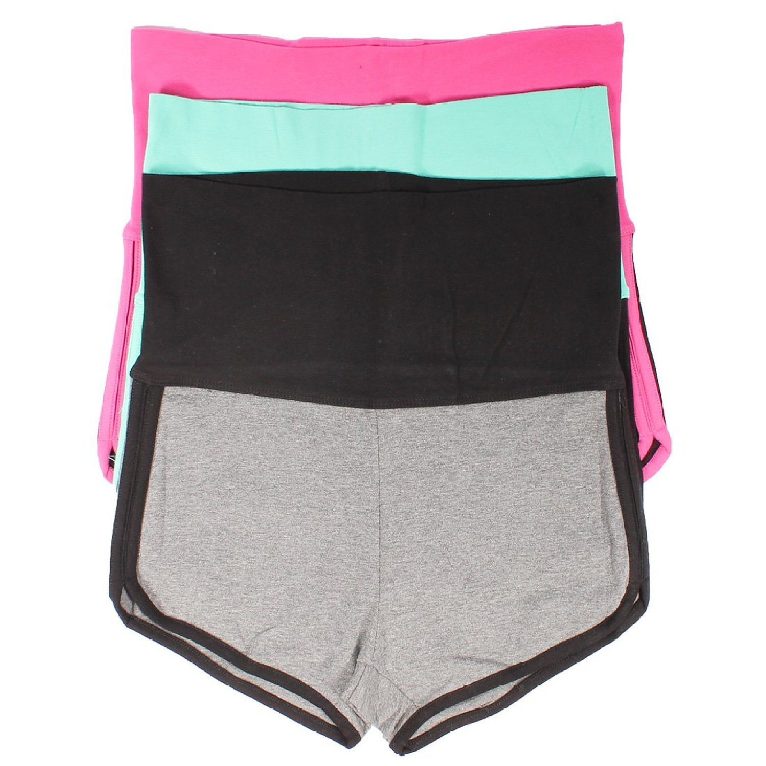 Mopas 3 Pack Yoga Two Tone Dolphin Shorts (Small), Small, gray, pink, mint