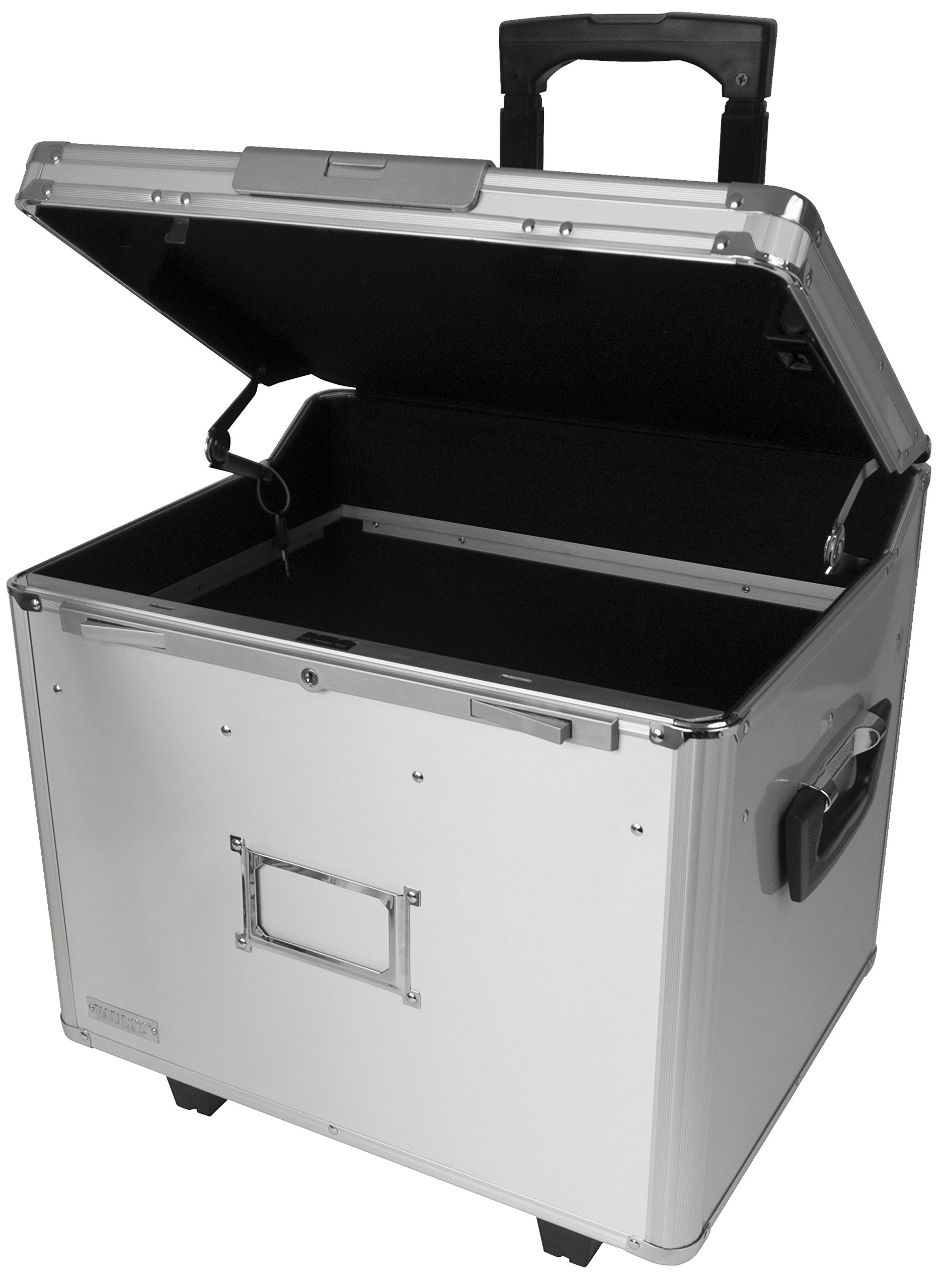 Vaultz Locking Letter/Legal Mobile File Chest with Electronic Lock, 9V Battery Required (Not Included), Silver Aluminum (VZ01193)