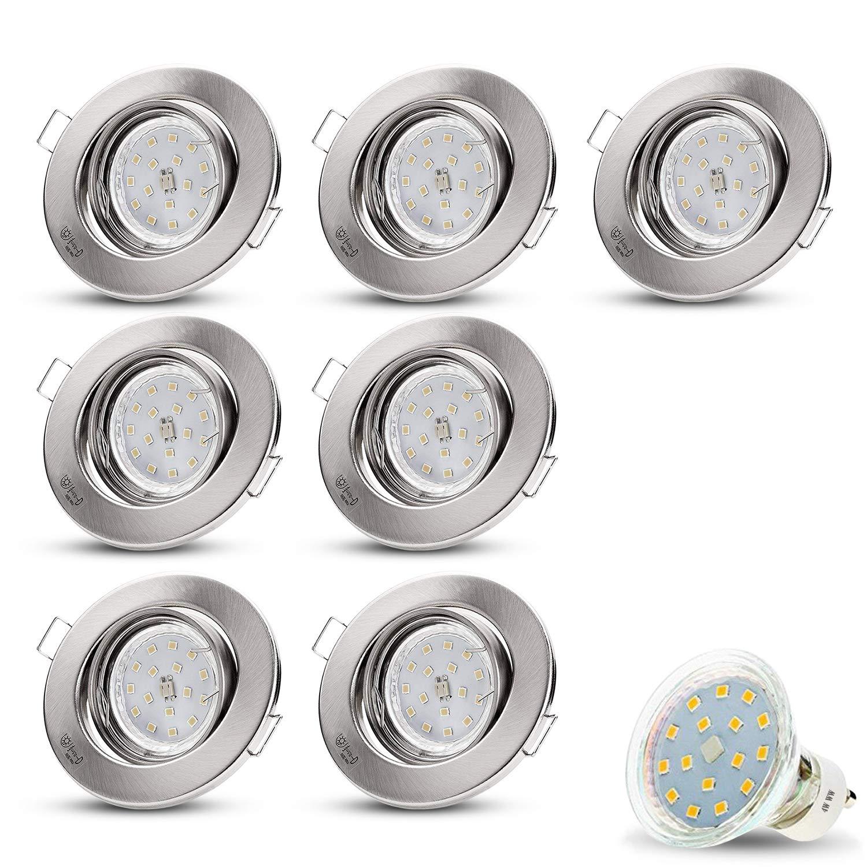 LED Einbauspot//Spotlight // LED Deckenstrahler LED Einbauleuchte BRANDSON Aluminium auch f/ür Das Bad geeignet 3er Set Ultra Flach LED Deckenspot warmwei/ß schwenkbar