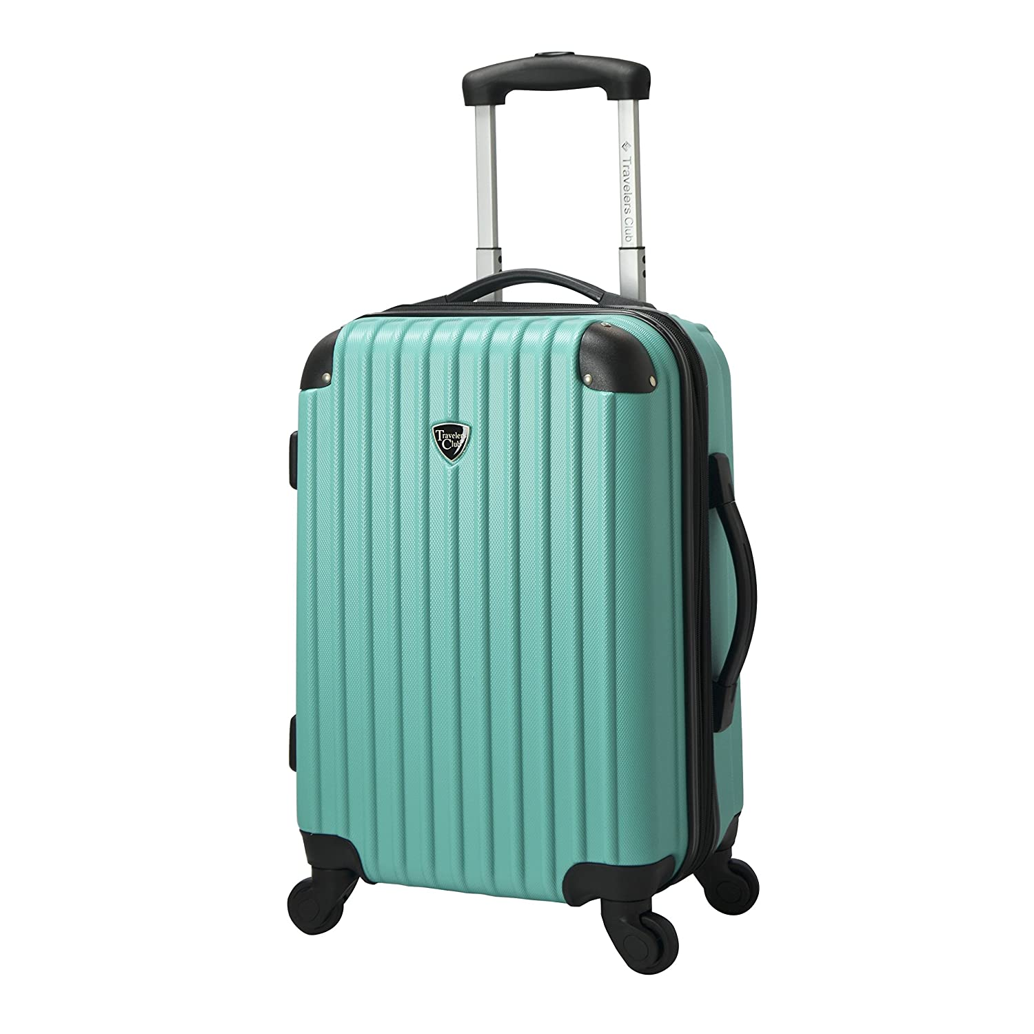 Travelers Club Luggage Madison 20 Inch Hardside Expandable Spinner Carry On Luggage, Teal HS-20721-CRM