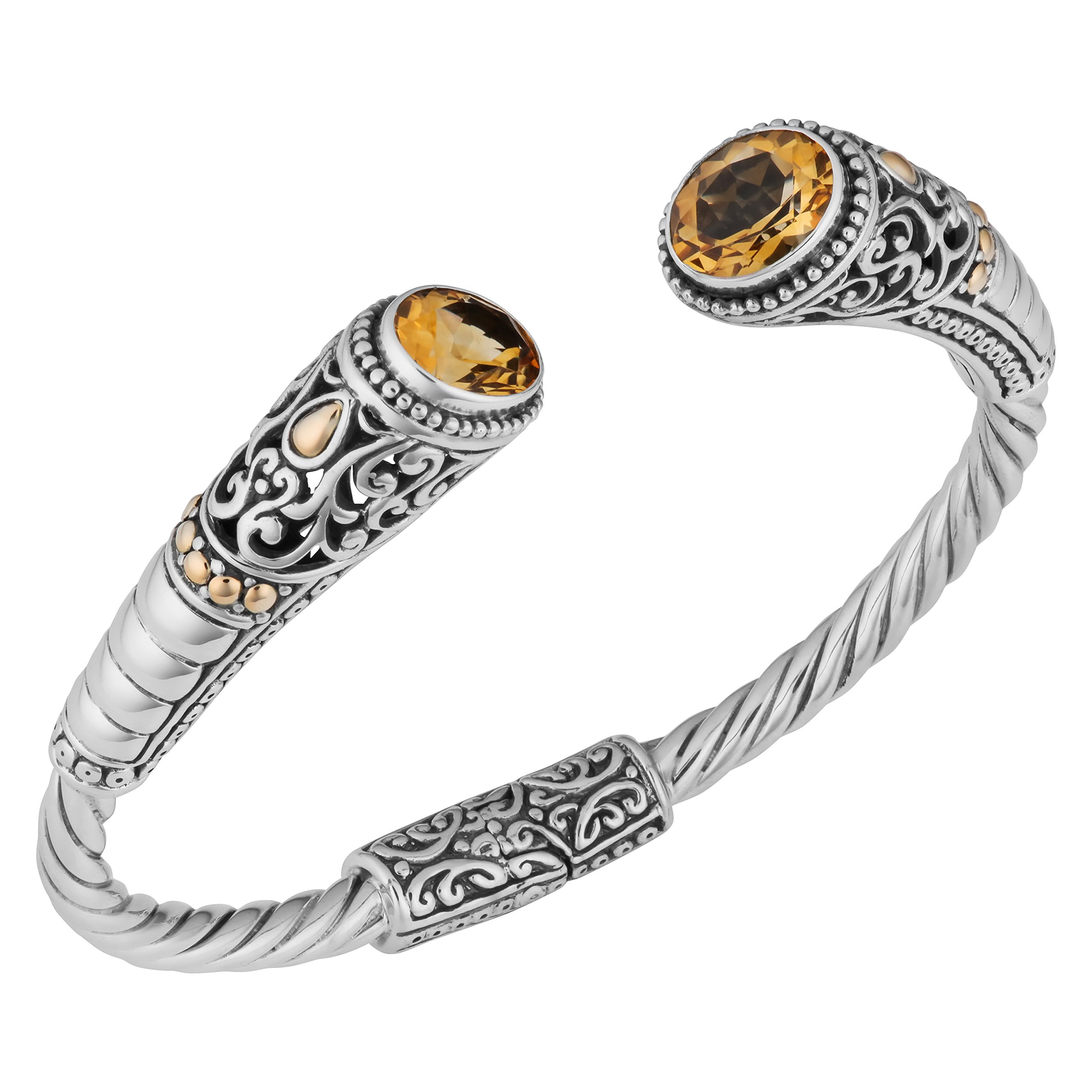 Artisanica 18 Karat Yellow Gold Sterling Silver Citrine Bali Cuff Bracelet