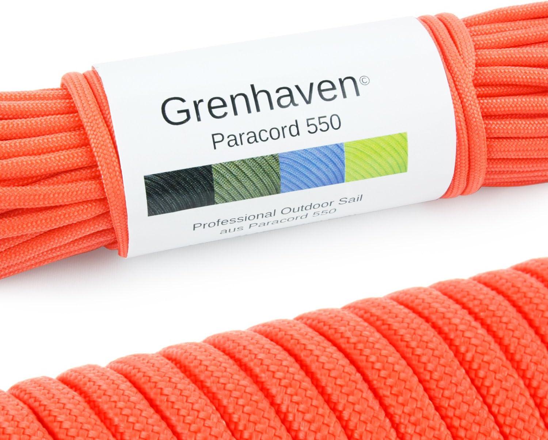 Grenhaven - 31 Metros m Soporta 250 Kilogramo kg 550 lbs Cuerda de Paracaídas - para Kit de Supervivencia - 7 Resistentes Hebras - Apta para Escalar - Parachute Cord - Paracord La Cuerda Rojo