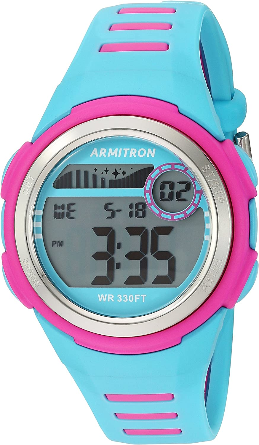 Armitron Sport Women's 45/7069LBL Magenta Accented Digital Chronograph Light Blue Resin Strap Watch