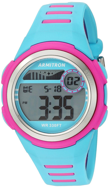 Armitron Sport Women 's 45 / 7069lblマゼンタAccented Digitalクロノグラフライトブルー樹脂ストラップウォッチ B01EKQKDTM