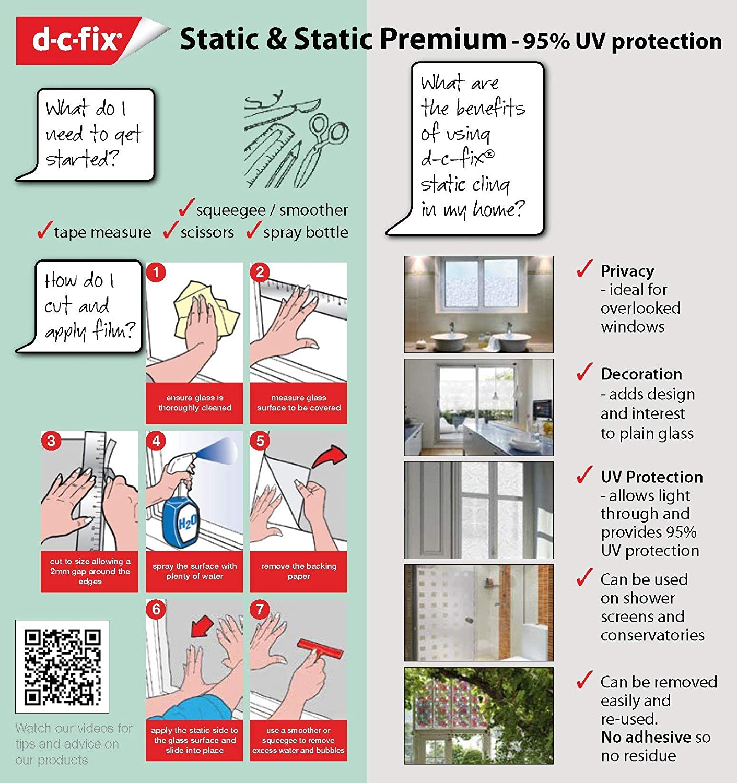 Static Cling Premium Window Film no adhesive ScreenCentre d-c-fix Blossom 45cm x 1.5m 334-0021