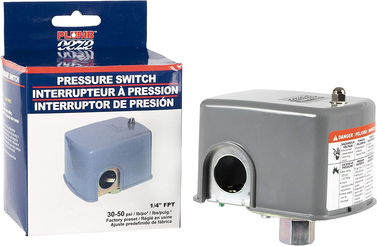 1//4 FPT Connection PLUMB-eeze by Boshart Pressure Switch set @ 30-50 PSI