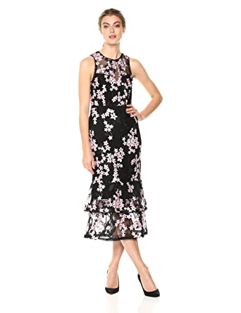2f9fff6dc04 Amazon.com  Shoshanna Women s Dominick Embroidered Mesh Sleeveless Sheath  Dress  Clothing