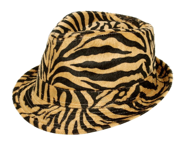 2b2487521249d Amazon.com  Simplicity Zebra Stripes Tweed Furry Trilby Gothic Fedora Hat
