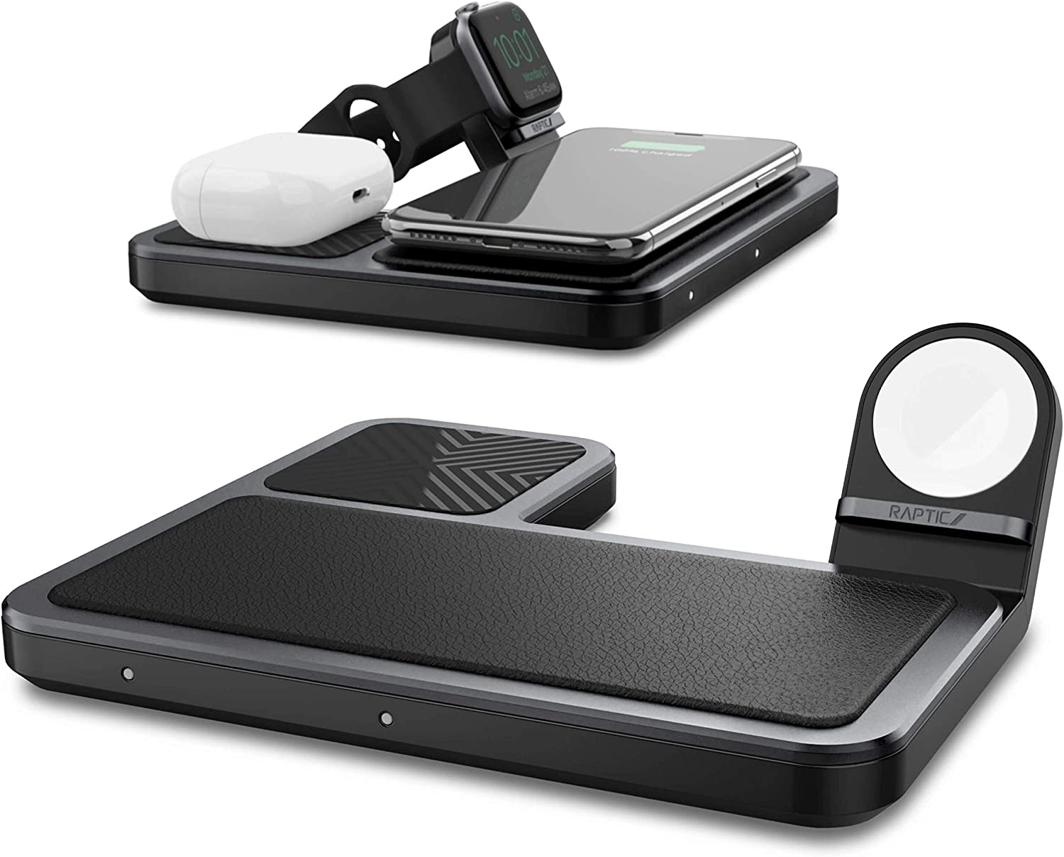 Raptic Trio Wireless Charger, 3 in 1 Qi Certified, 10W Fast Charging Station Dock, Compatible with Apple Watch Series 5 4 3 2 1, iPhone 12, iPhone 11 and AirPods 2 & Pro (Black)