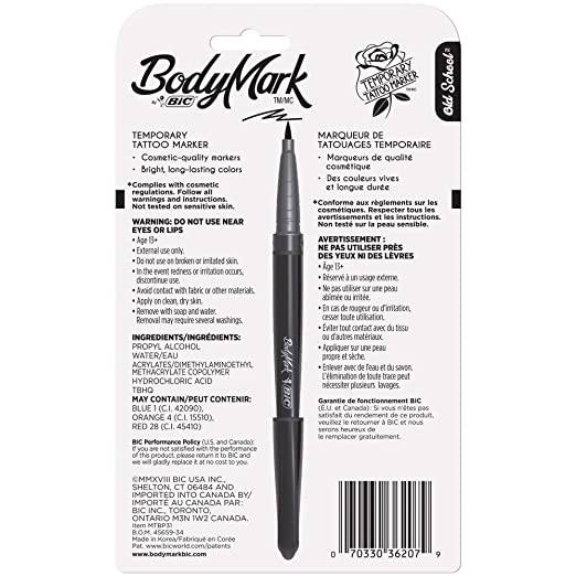 BIC BodyMark Temporary Tattoo Marker, Old School, Assorted Colors, 3-Count