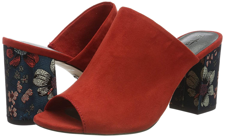 Ladies Tamaris 27288 Black Suede Floral Block High Heel Peep Toe Mules Sandals