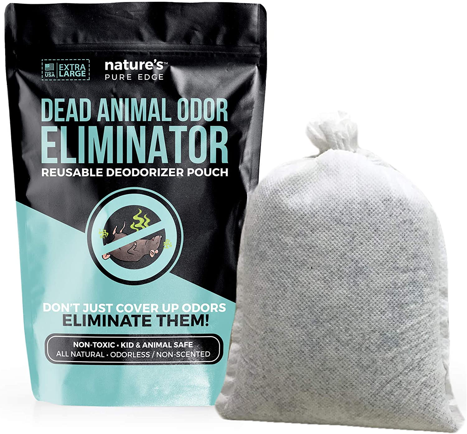 Dead Animal Smell Removal Reusable Deodorant Pouch. Eliminate dead Animal Smell Without Scent. Decay Odor Remover. Fragrance Free. Pet and Kid Safe. Extra Large, Covers 375 Square Feet.