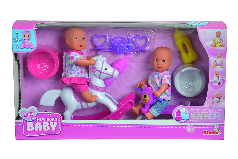 Simba 105036608 - Mini New Born Baby-Spiel Set, 2 Vollvinyl-Puppen, 12 cm, Zubehör Zubehör Simba Dickie Group 496608 Funktionspuppen