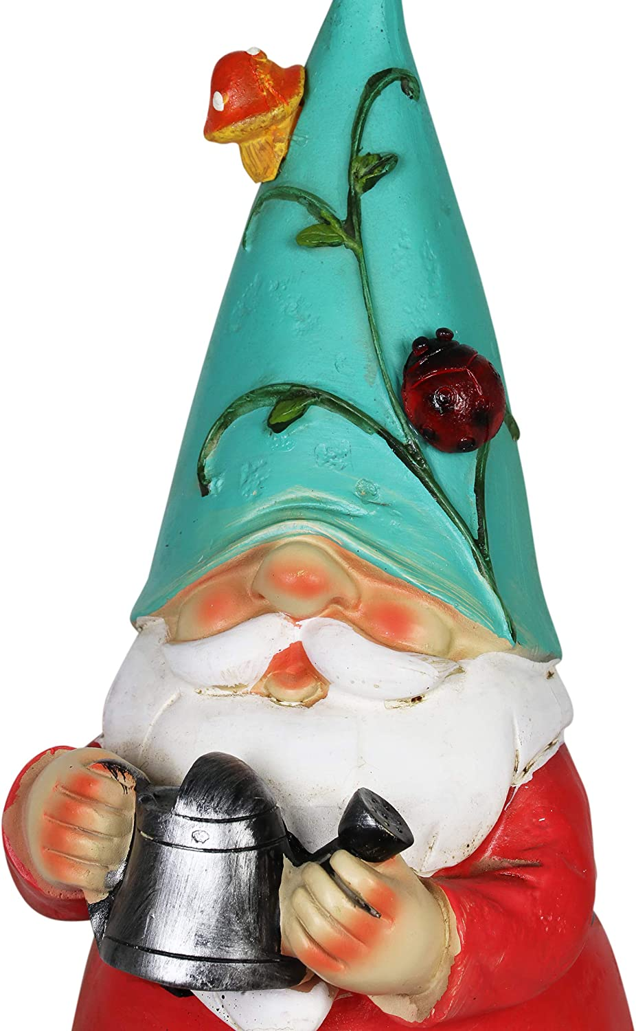 5 L x 5 W x 10 H Exhart Solar Gnome Garden Statue w//Watering Can Teal Hat Gnome Resin Statue Holding a Watering Can Garden Elf Decor Solar Decor Lights in Butterfly /& Snail Design