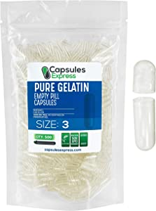 Capsules Express- Size 3 Clear Empty Gelatin Capsules 500 Count - Kosher and Halal - Pure Gelatin Pill Capsule - DIY Powder Filling