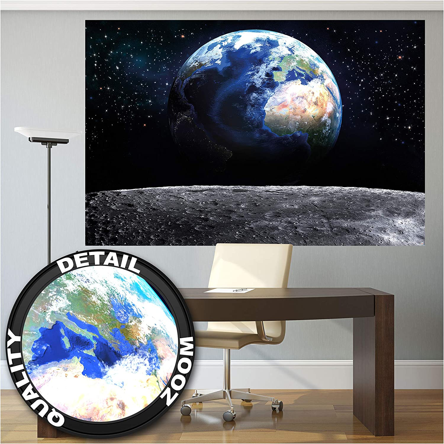 Amazon Com Mural View Of Earth From Space Wallpaper World