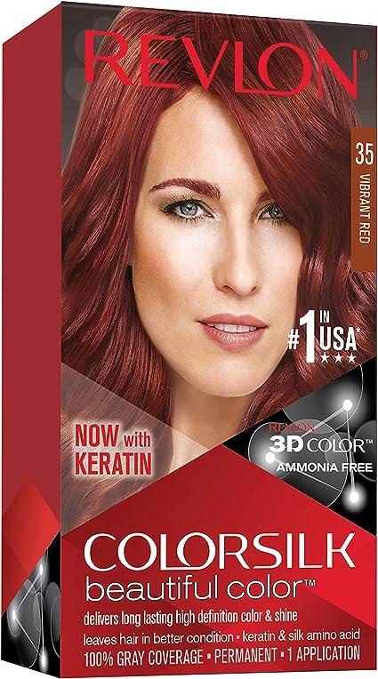 Revlon ColorSilk Tinte de Cabello Permanente Tono #35 Rojo Vibrante